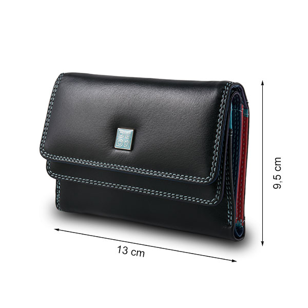 DuDu Leather multi color wallet with double flap - Black