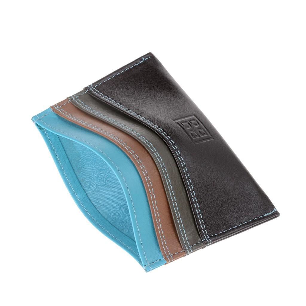 DuDu ארנק מינימליסטי לכרטיסי אשראי - חום כהה