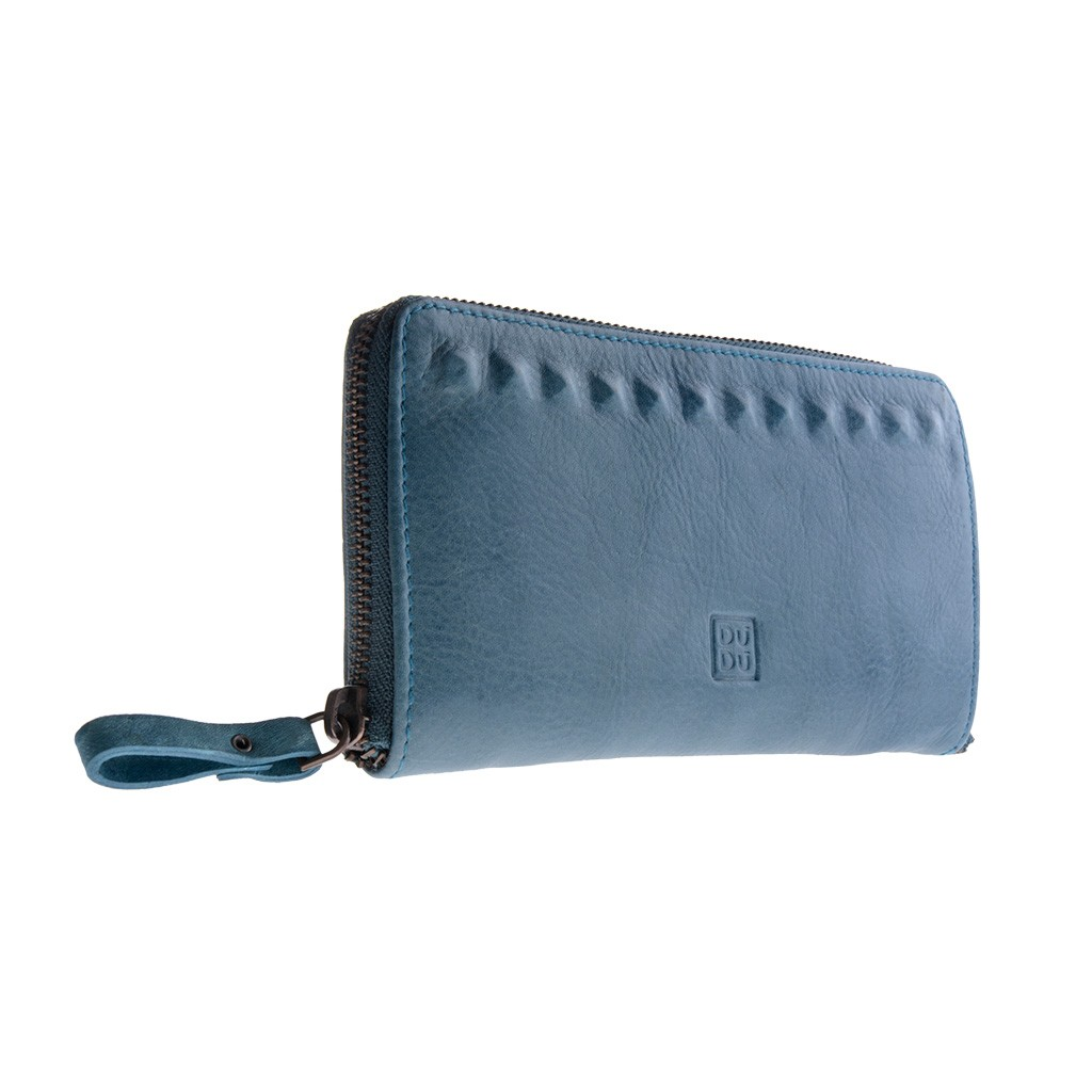 DuDu Ladies handmade premium leather wallet - Blue