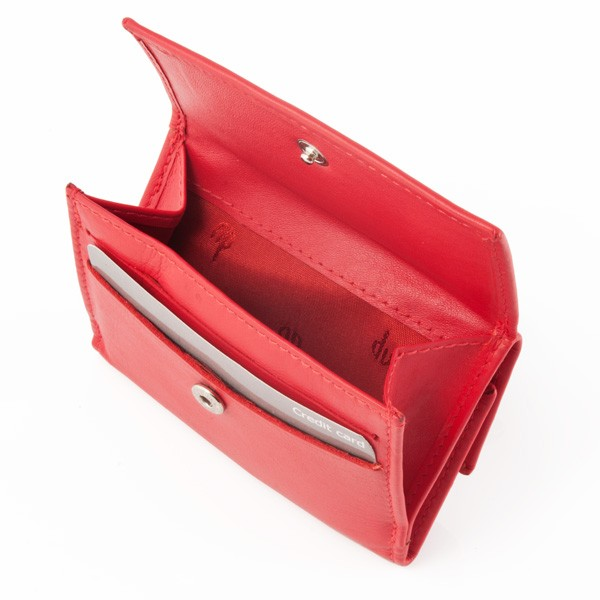 Small leather wallet with coin purse and double closure - Red