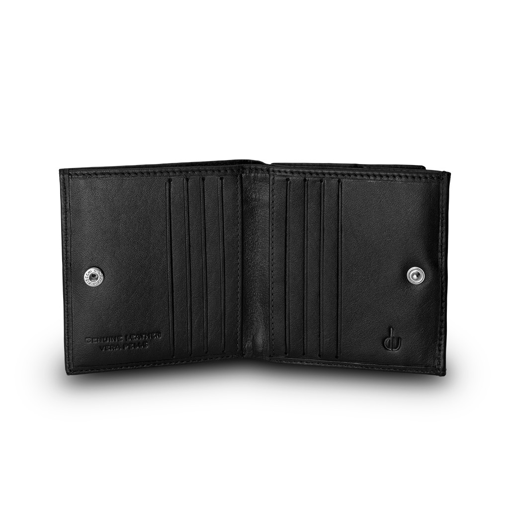 dv ארנק עור אלגנטי עם תא ייחודי למטבעות - שחור