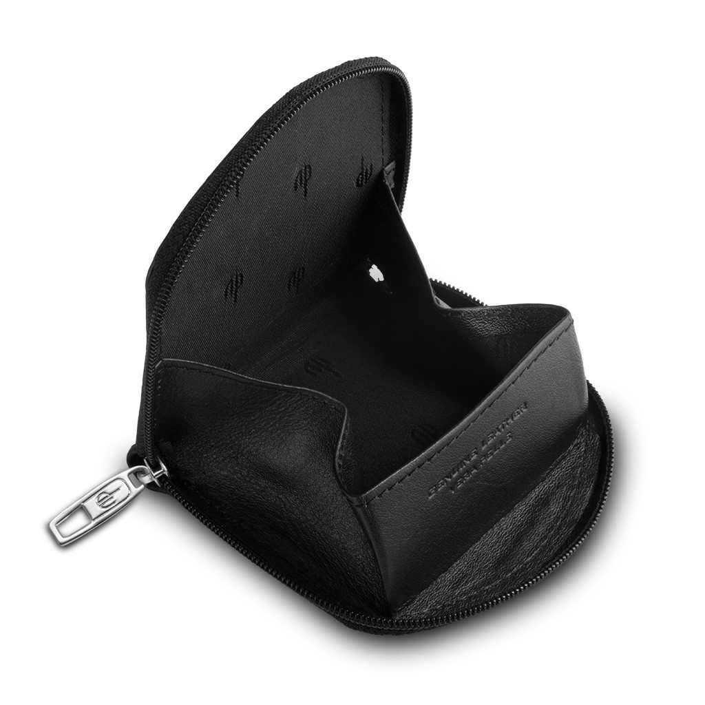 dv Leather Coin Purse - Black