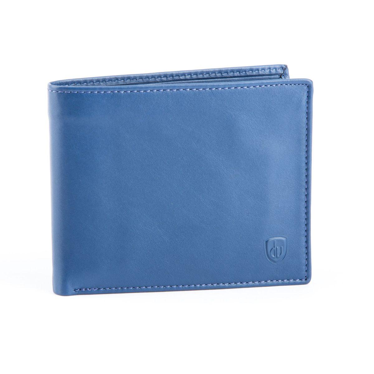 dv ארנק עור איכותי עם פתיחה כפולה - כחול