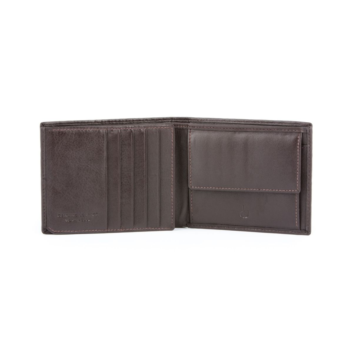 Leather Wallet for men with inner flap side - Brown