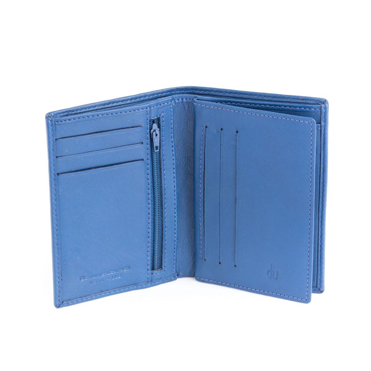 dv ארנק עור איכותי פתיחת ספר - כחול