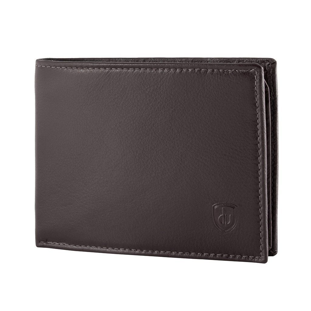 Leather classic wallet with coin purse and inside flap - Dark Brown