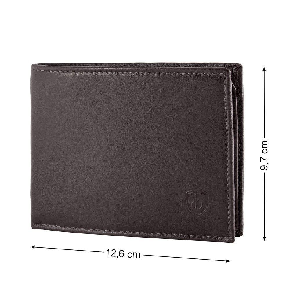 dv ארנק עור קלאסי RFID עם תא למטבעות - חום כהה