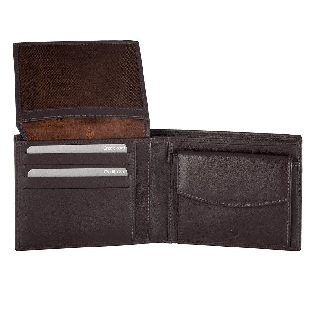 dv RFID Leather classic wallet with coin purse and inside flap - Dark Brown