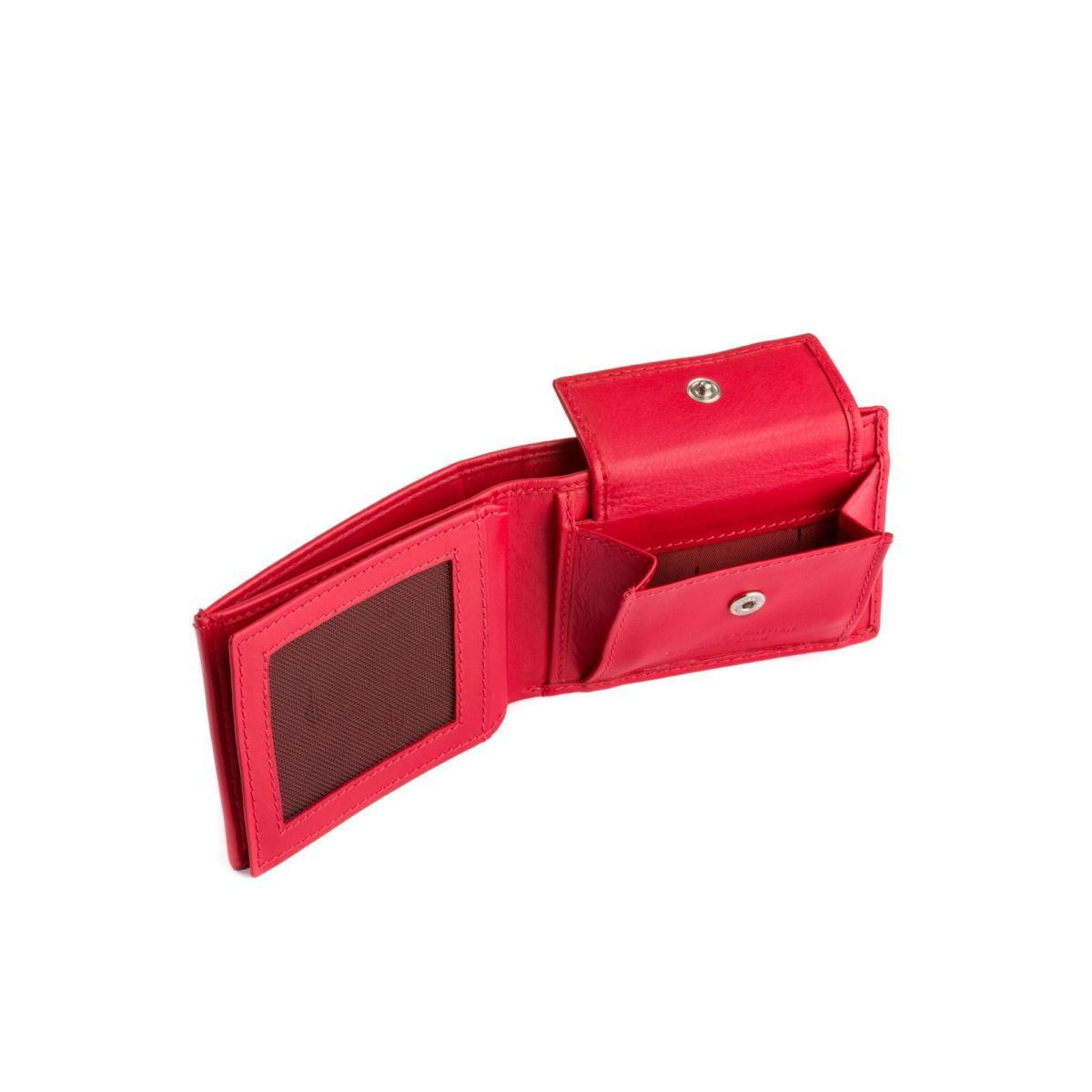 dv Thin Leather wallet with coin purse - Red