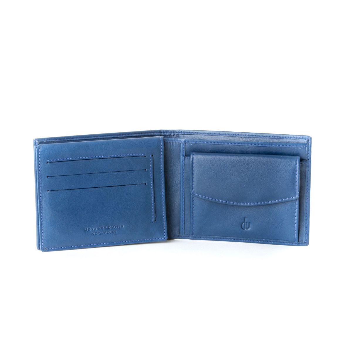 Leather classic wallet with coin purse and inside flap - Blue