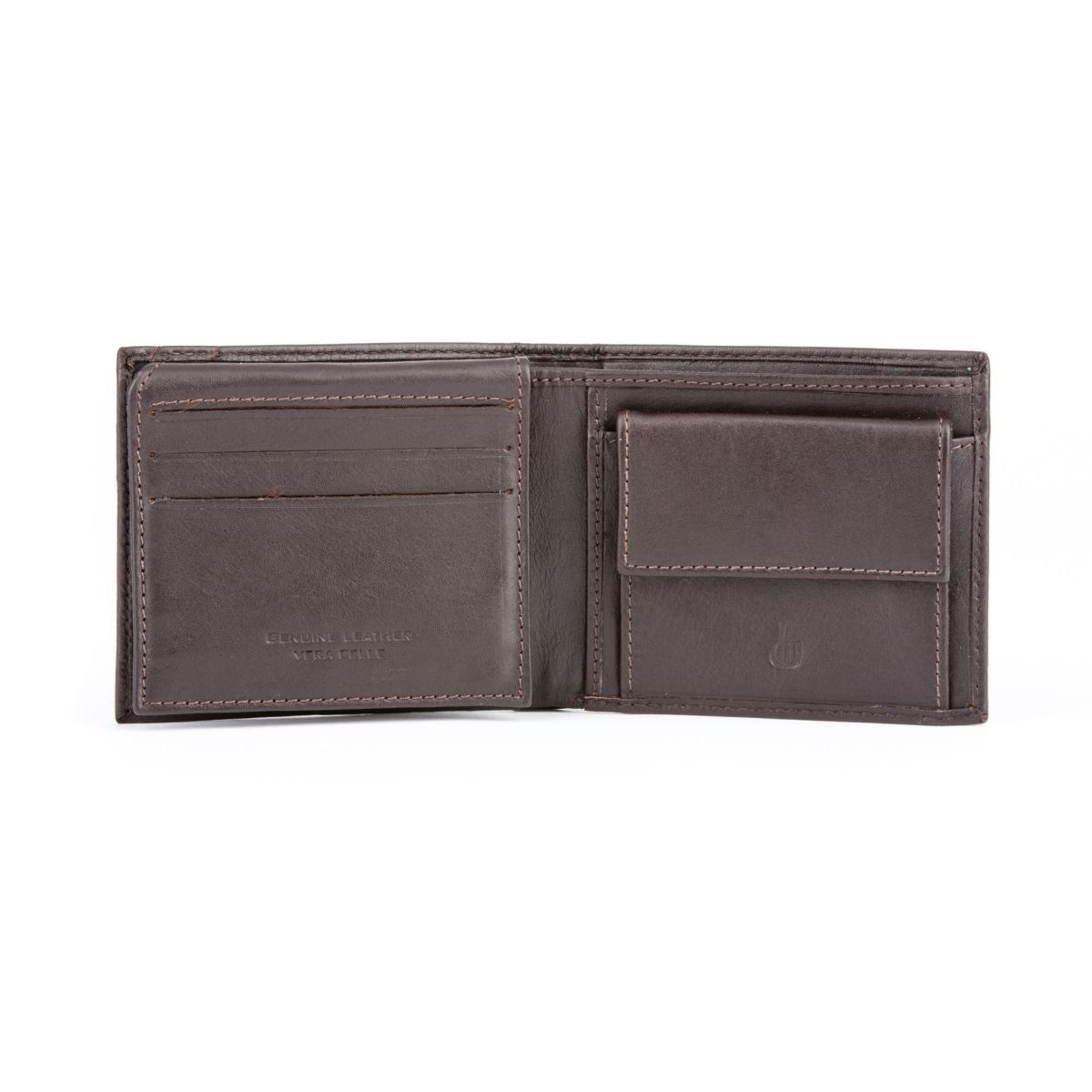 dv Compact Leather Wallet With Coin Pocket - Dark Brown