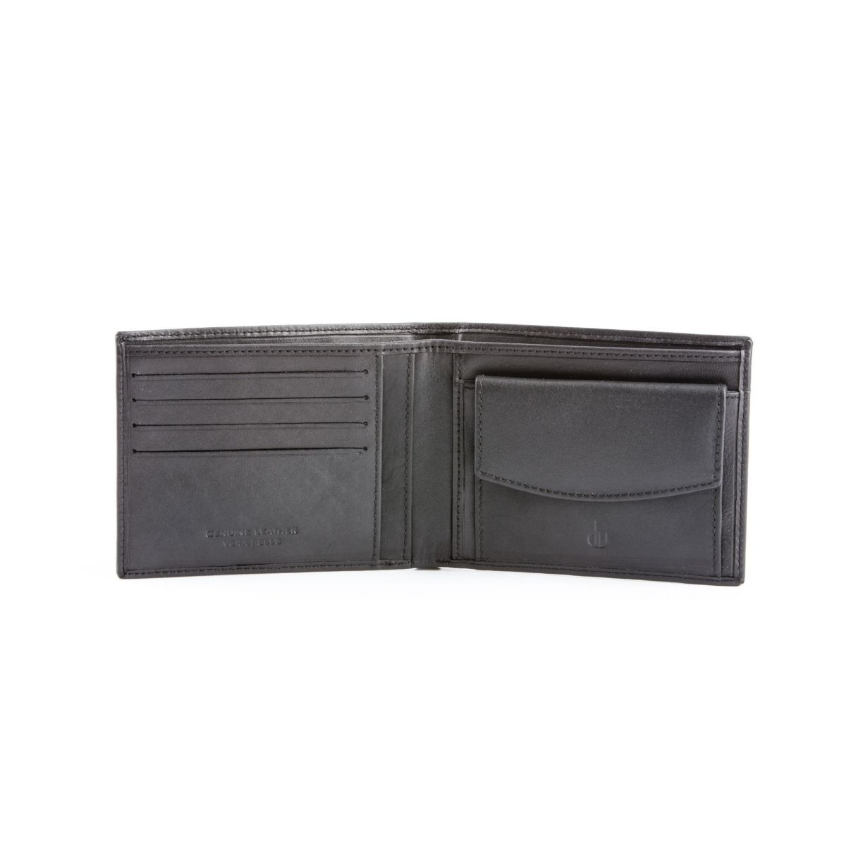 Slim Leather wallet with coin purse - Black
