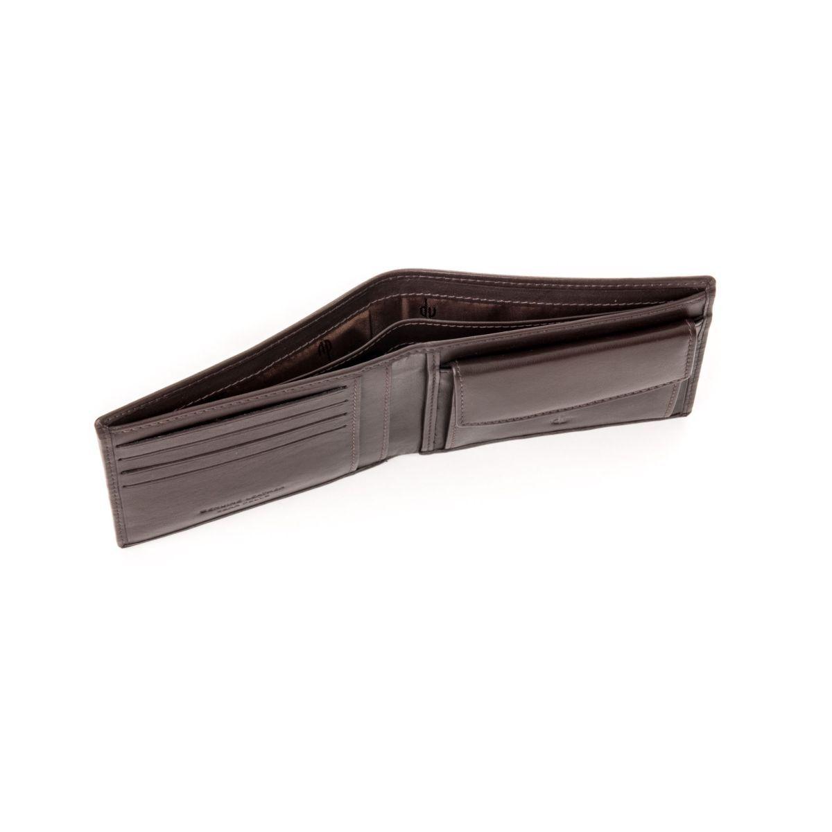 dv ארנק עור שטוח עם תא למטבעות - חום כהה