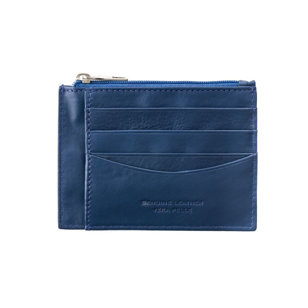 Slim leather credit card wallet - Blue
