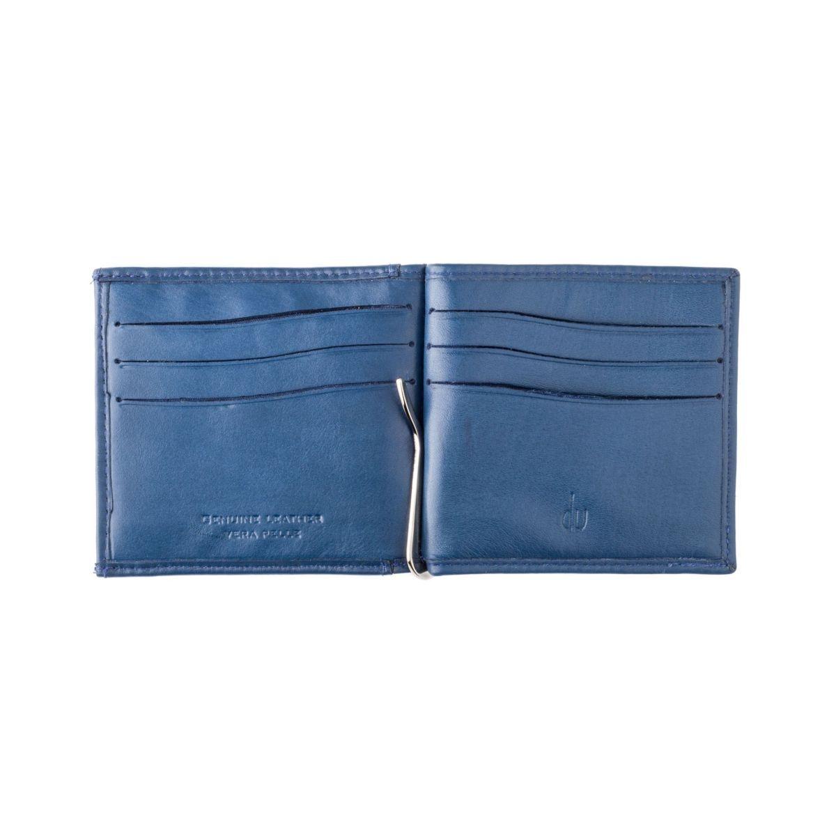 dv ארנק עור איטלקי עם קליפס ותא למטבעות - כחול