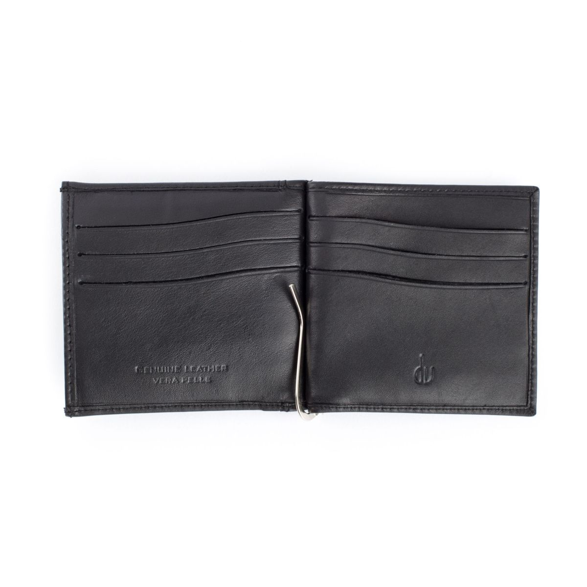 Small Leather Wallet With Clips And Coin Pocket - Black