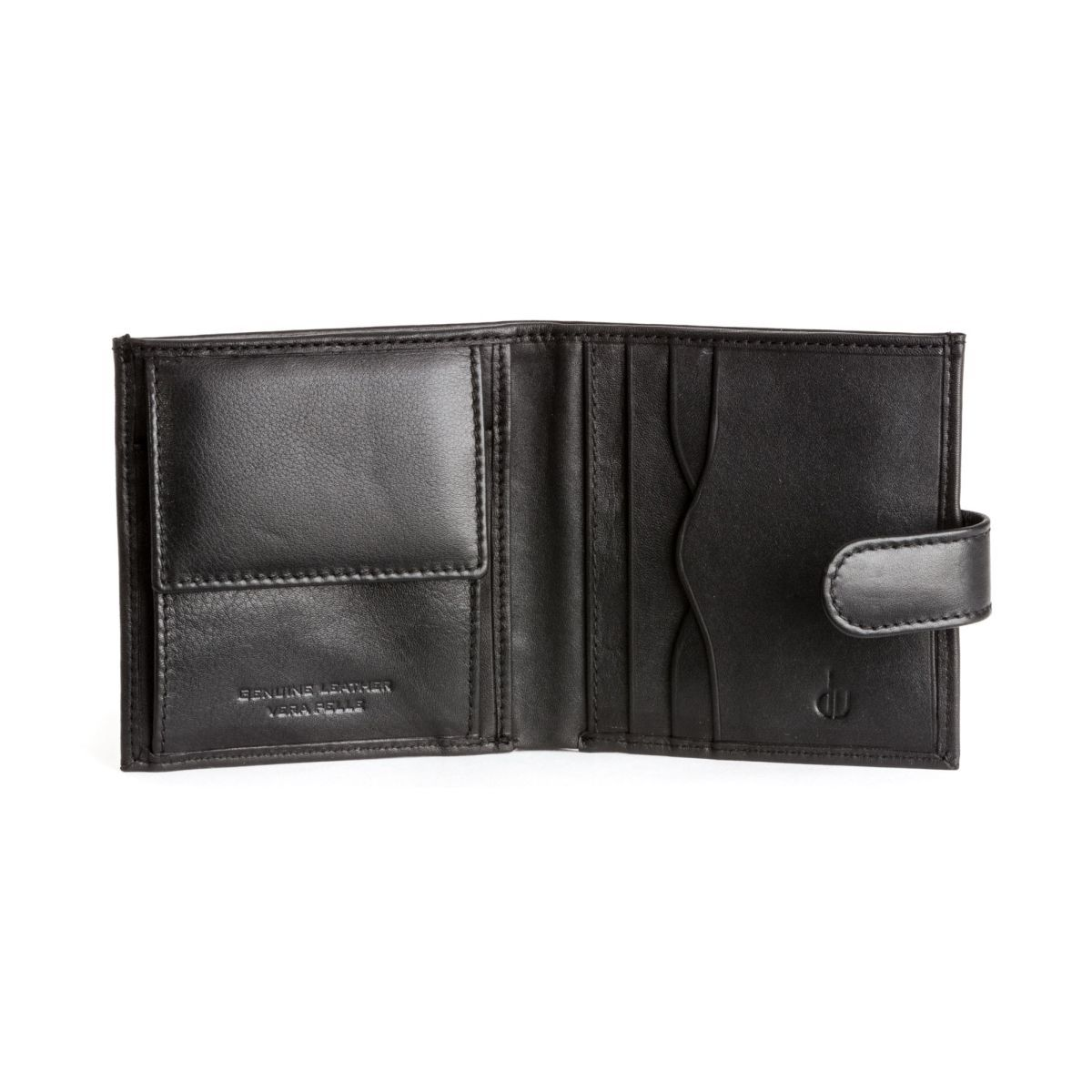 Men's Leather Wallet With Snap Closure - Black