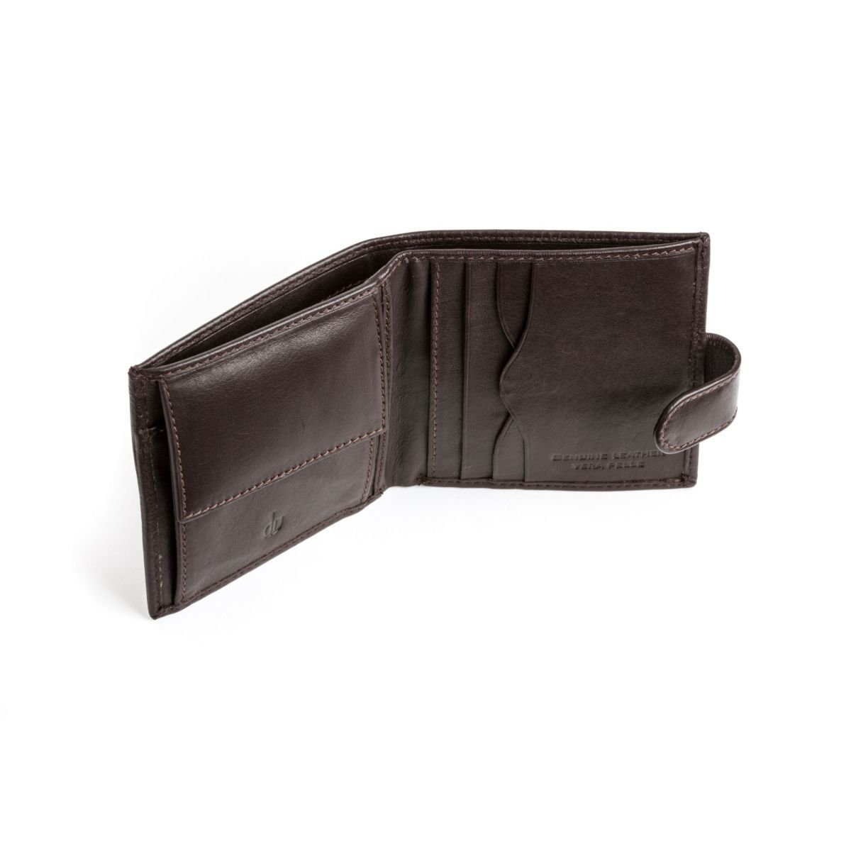 Men's Leather Wallet With Snap Closure - Dark Brown