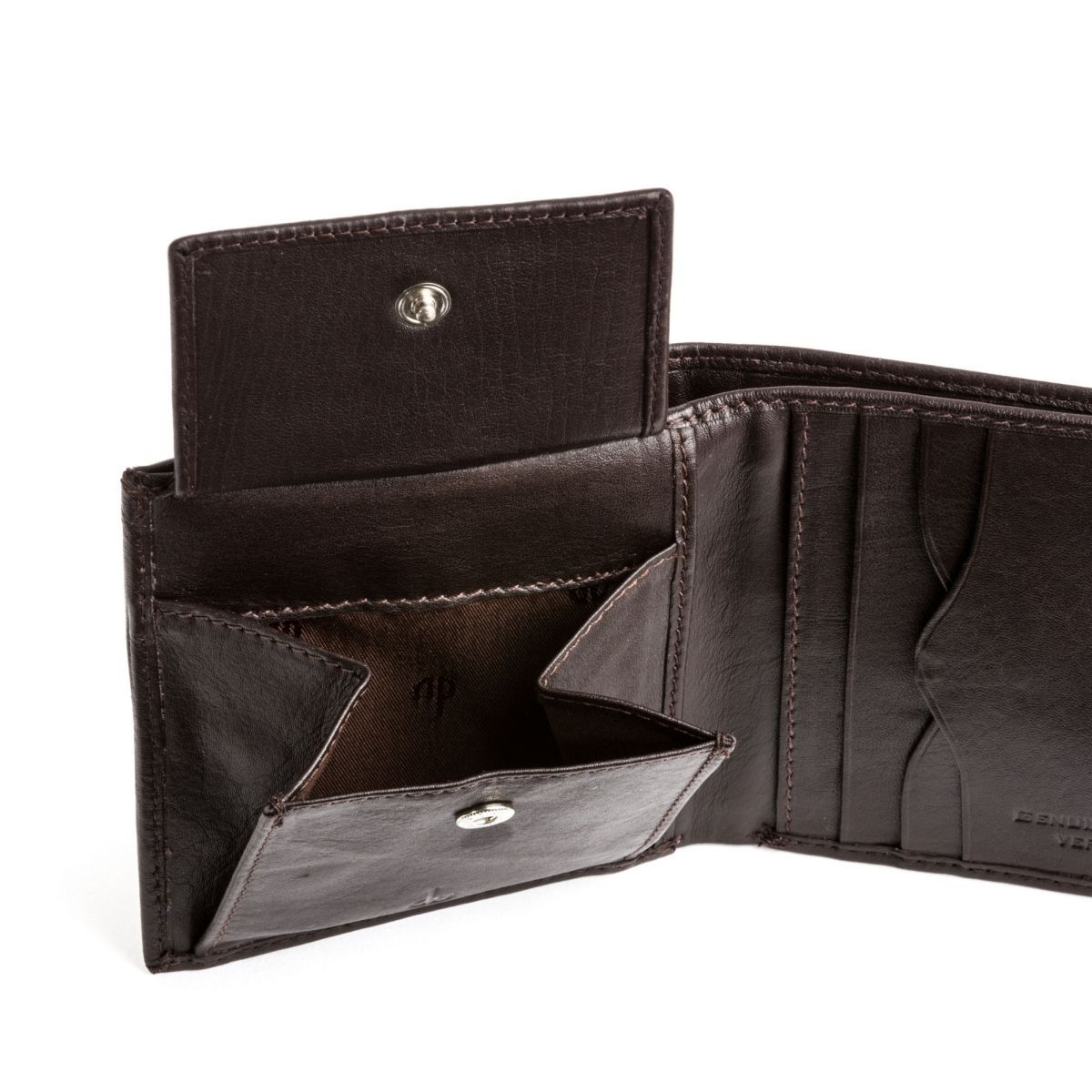 dv Men's Leather Wallet With Snap Closure - Dark Brown