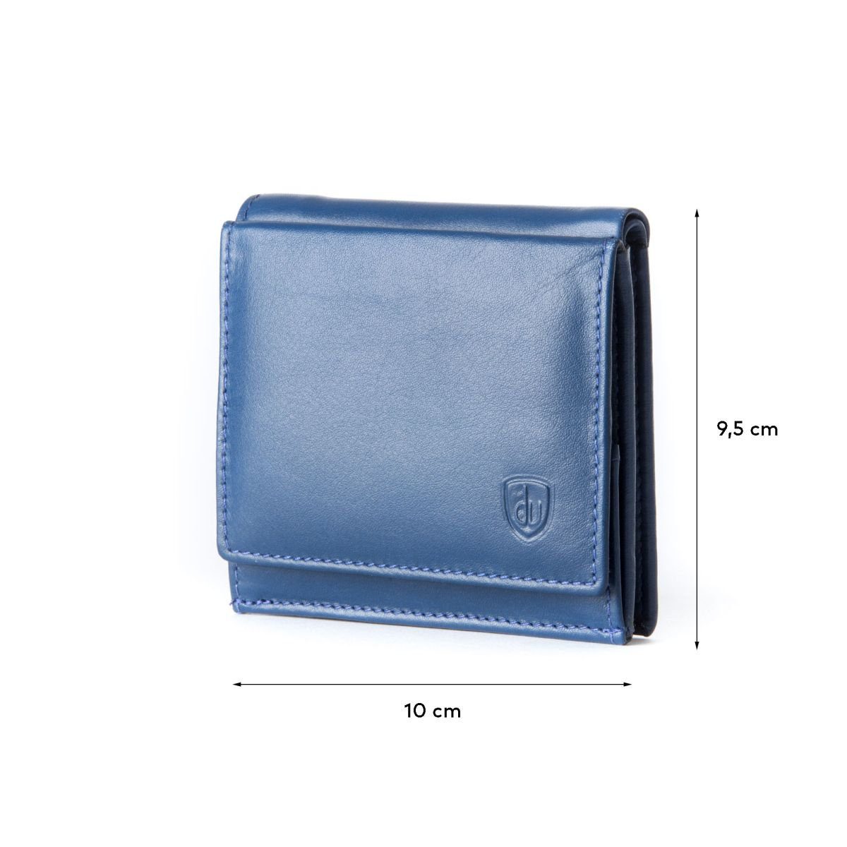 dv ארנק עור אלגנטי עם תא ייחודי למטבעות - כחול
