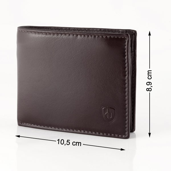 dv Leather wallet with coin purse and inside secret zip compartment - Dark Brown