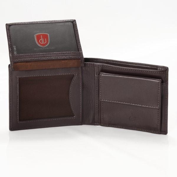 dv ארנק עור איכותי עם תא למטבעות - חום כהה