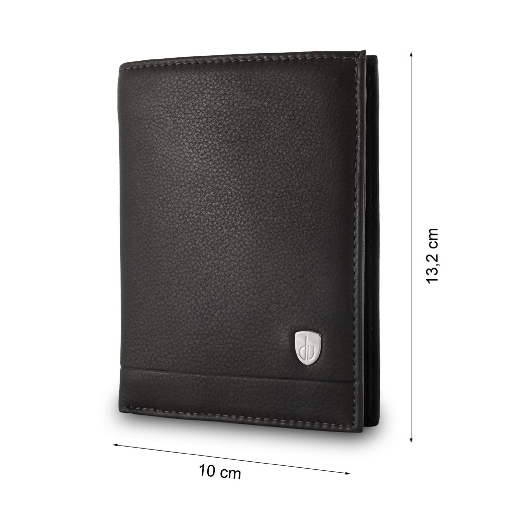 dv Mans folding leather wallet with coin purse - Black