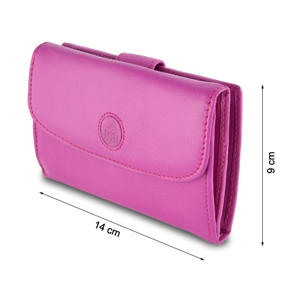 NUVOLA PELLE Leather wallet with external security closure and double opening - Fuchsia