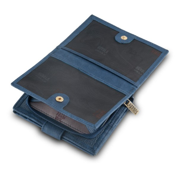 NUVOLA PELLE Leather wallet with coin purse and external closure - Blue