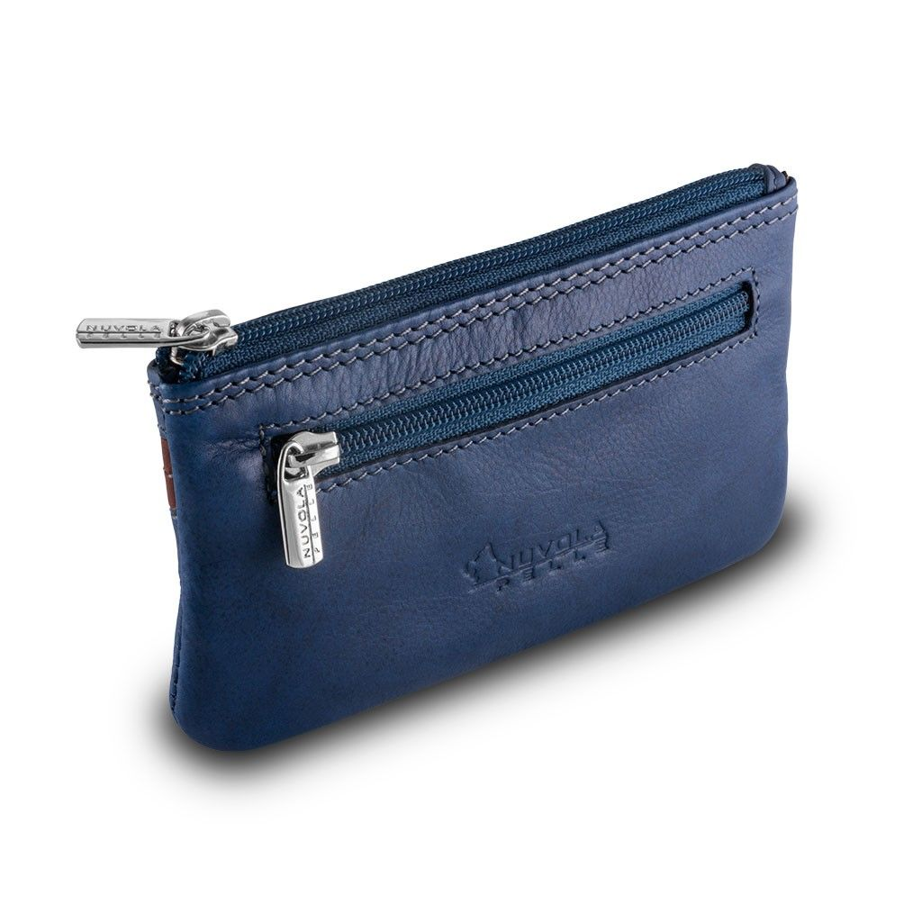 NUVOLA PELLE ארנק מחזיק מפתחות איכותי - כחול