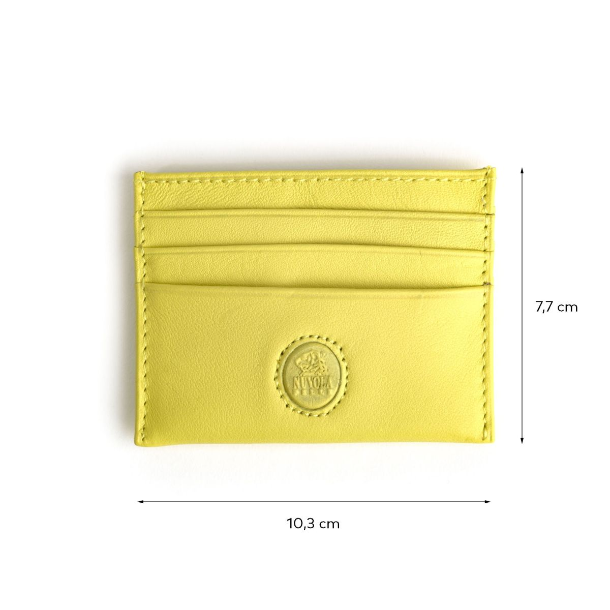 NUVOLA PELLE Minimalist leather credit card wallet - Lime