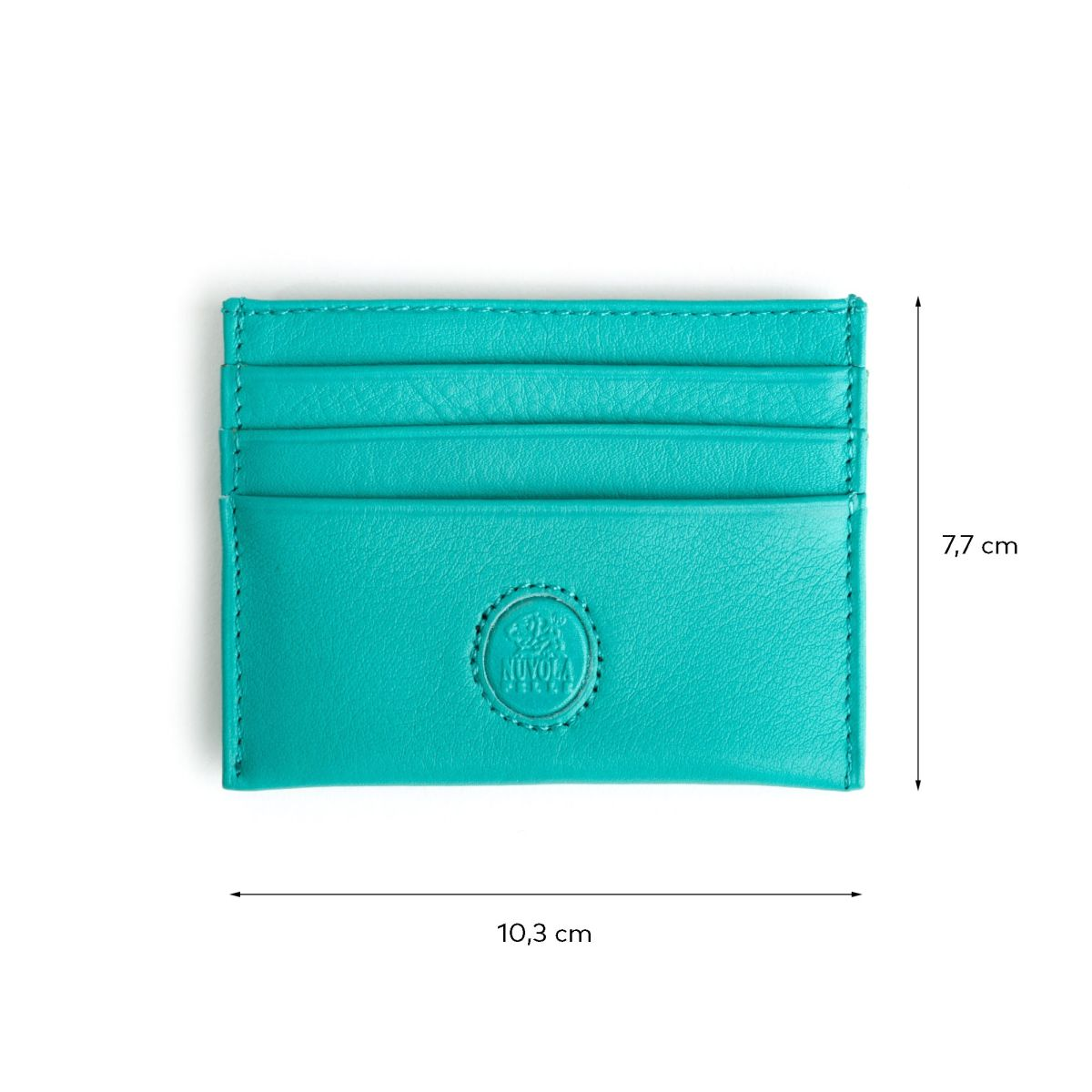 NUVOLA PELLE Minimalist leather credit card wallet - Turquoise