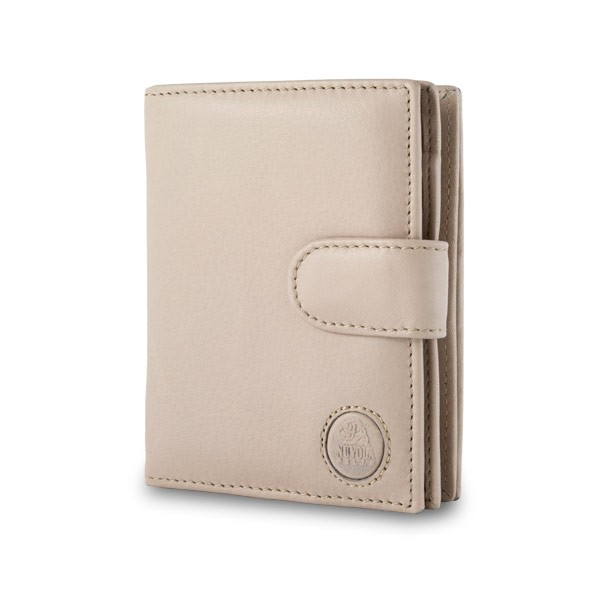 Leather wallet with coin purse and external closure - Beige