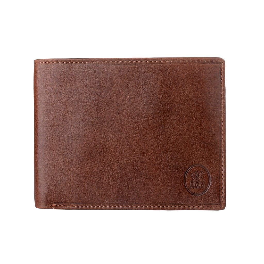 NUVOLA PELLE Mens Thin Leather Wallet - Brown