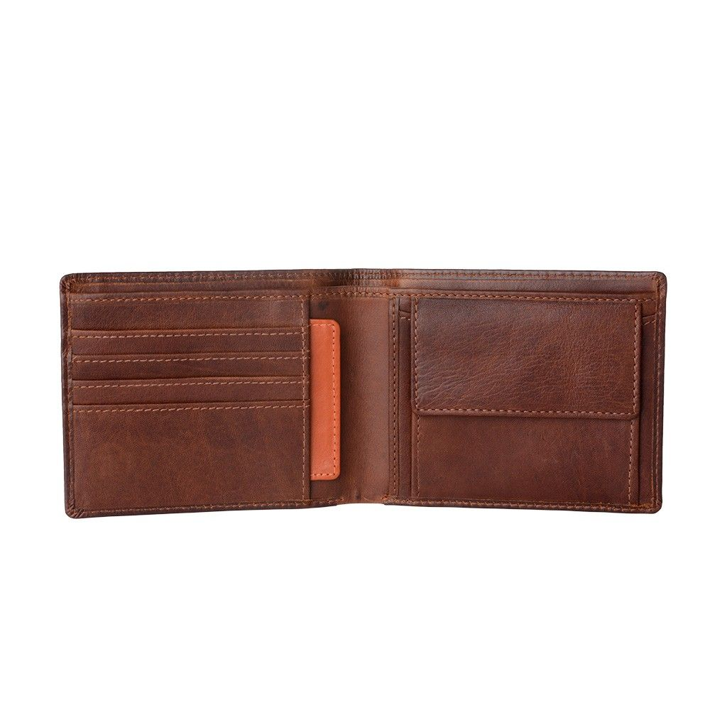 Mens Thin Leather Wallet - Brown