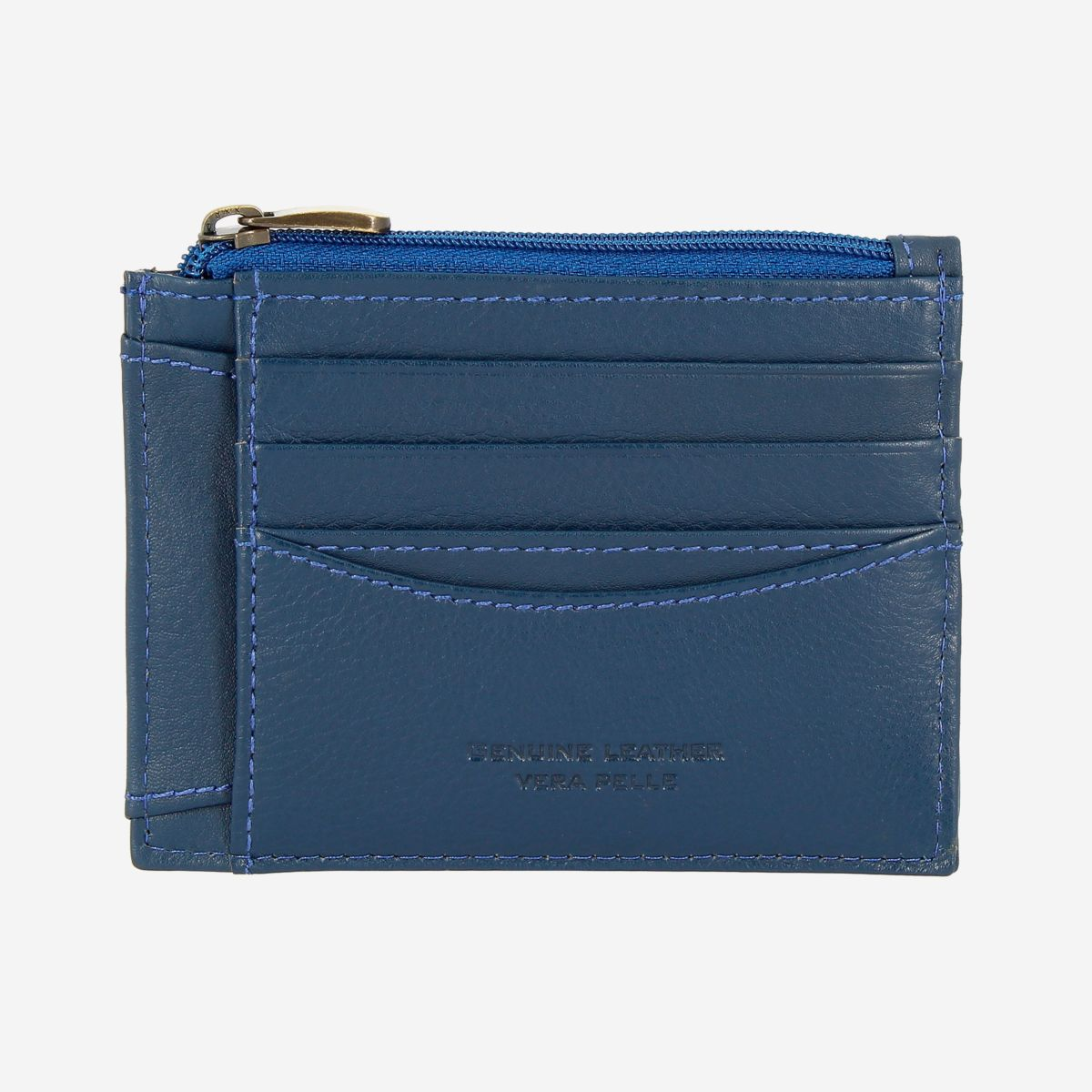 NUVOLA PELLE Slim Leather Credit Card Wallet - Blue