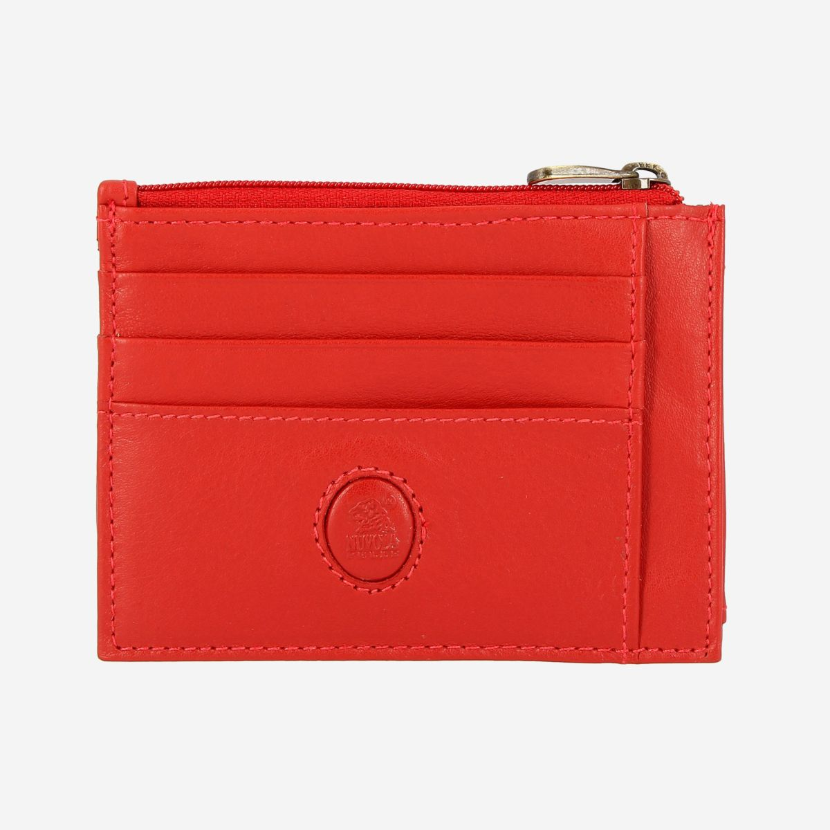 NUVOLA PELLE Slim Leather Credit Card Wallet - Red