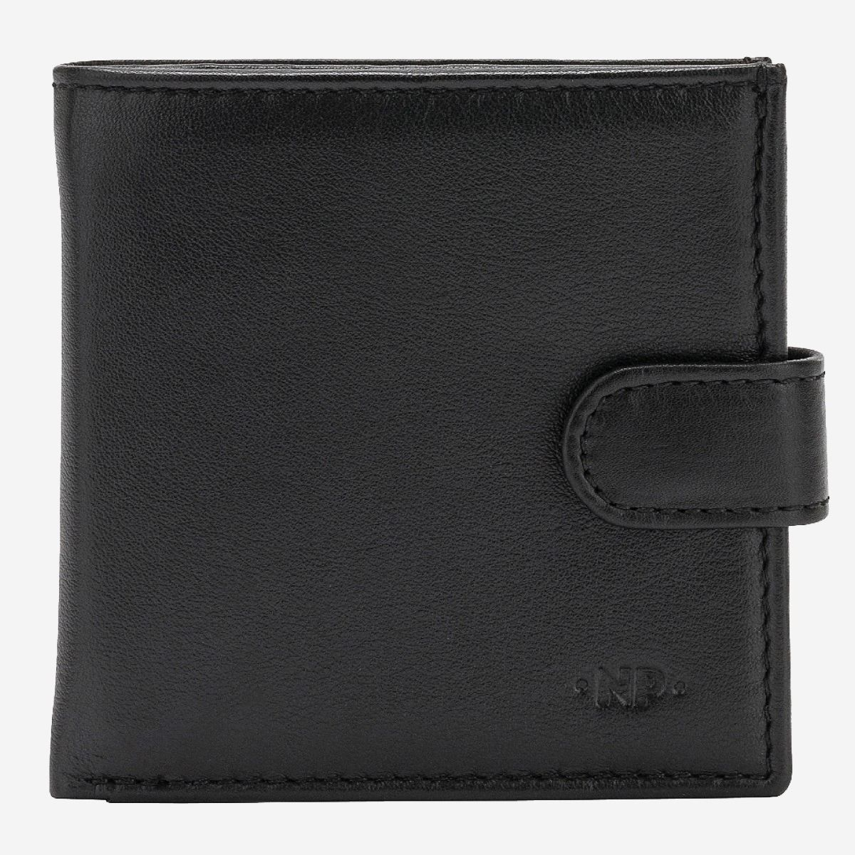 NUVOLA PELLE Mens Leather Wallet With Snap Closure Nappa - Black