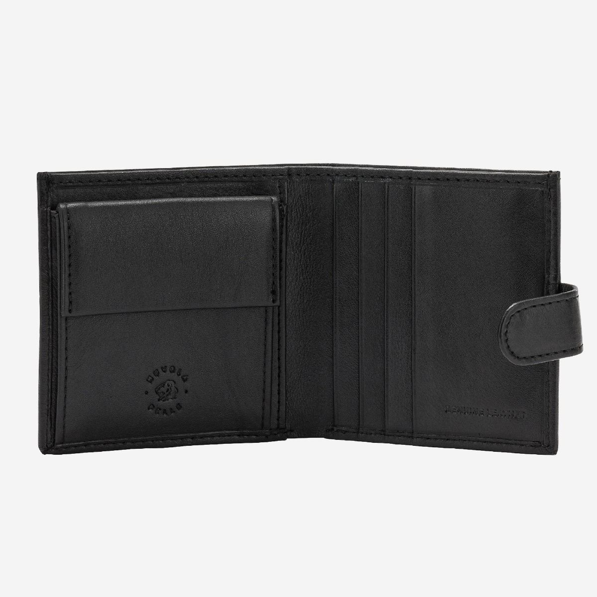 NUVOLA PELLE ארנק עור קלאסי עם תא למטבעות וסוגר - שחור