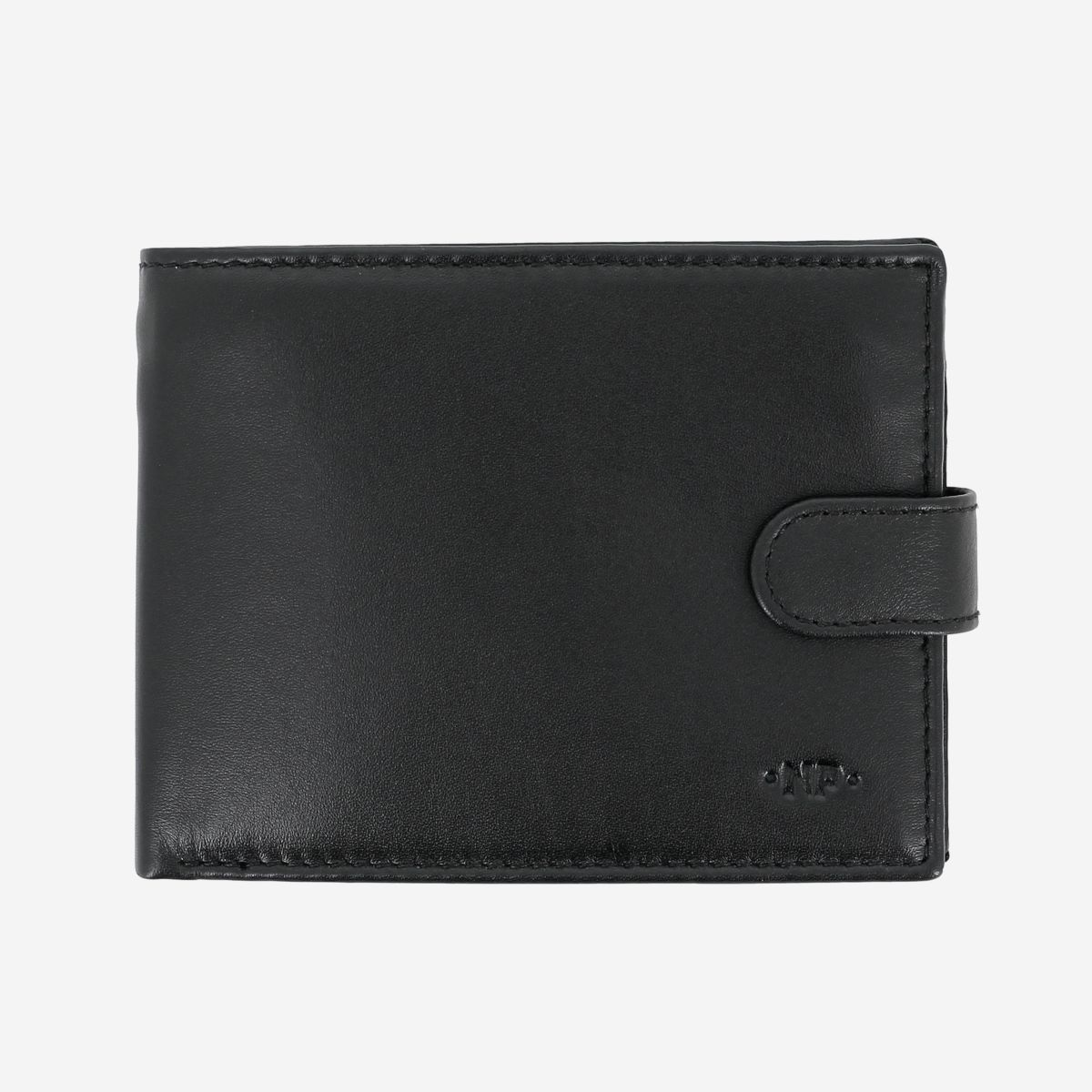 NUVOLA PELLE Mens Leather Wallet With Snap Button - Black