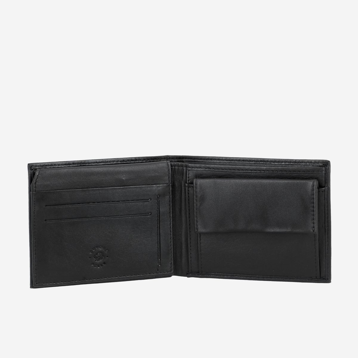 NUVOLA PELLE Elegant Mens Leather Wallet With Coin Coin Purse - Black