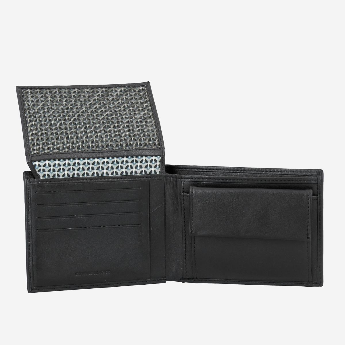 Elegant Mens Leather Wallet With Coin Coin Purse - Black