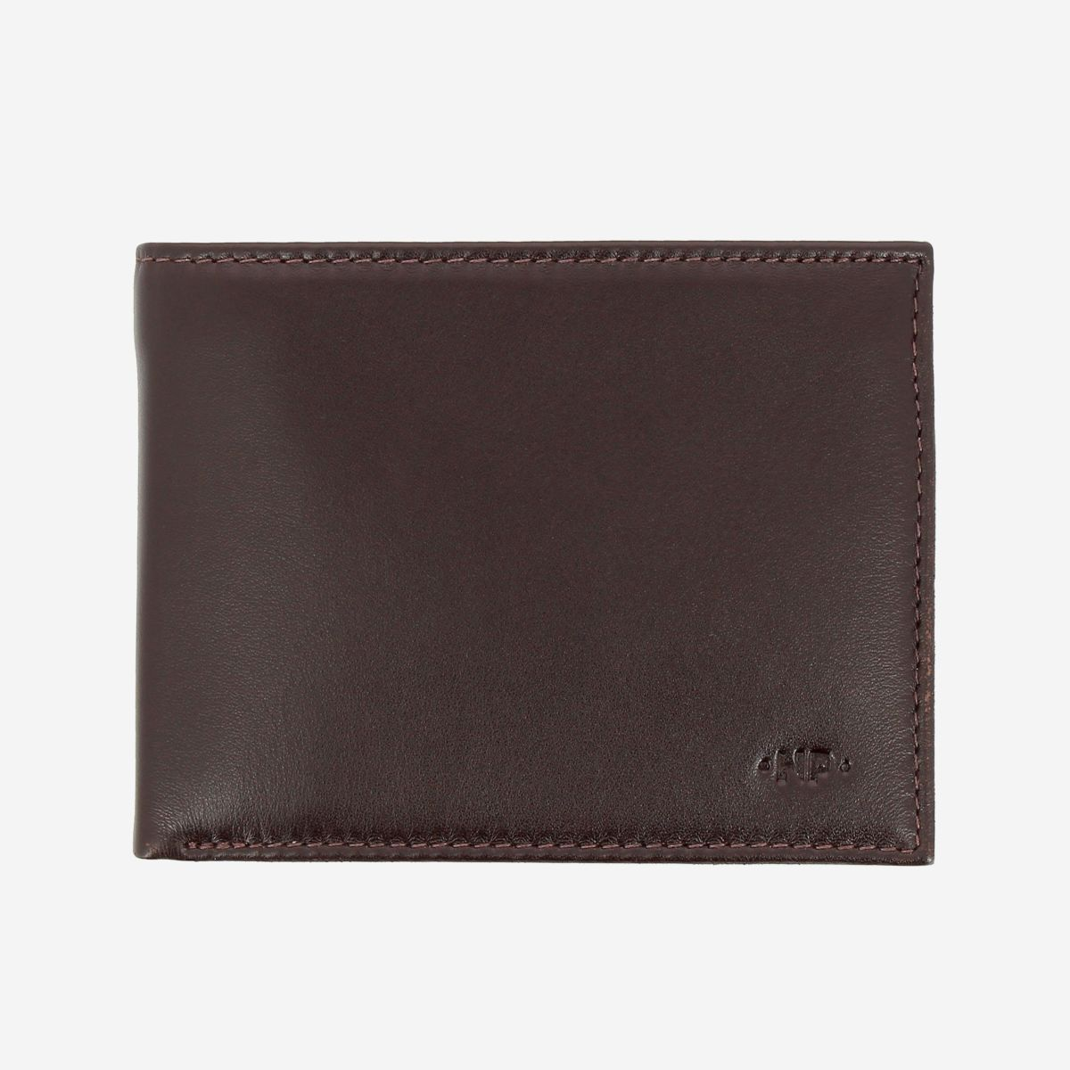 NUVOLA PELLE Elegant Mens Leather Wallet With Coin Coin Purse - Dark Brown