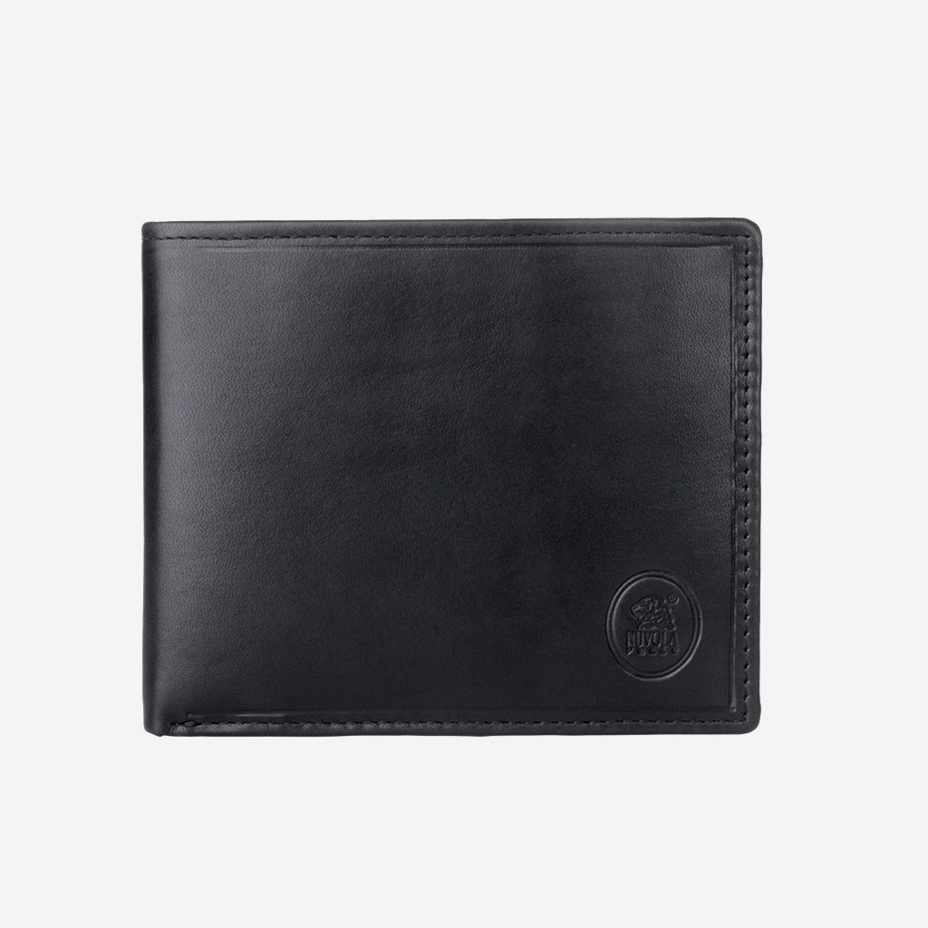 NUVOLA PELLE Small Mens Leather Bifold Wallet With Coin Holder - Black