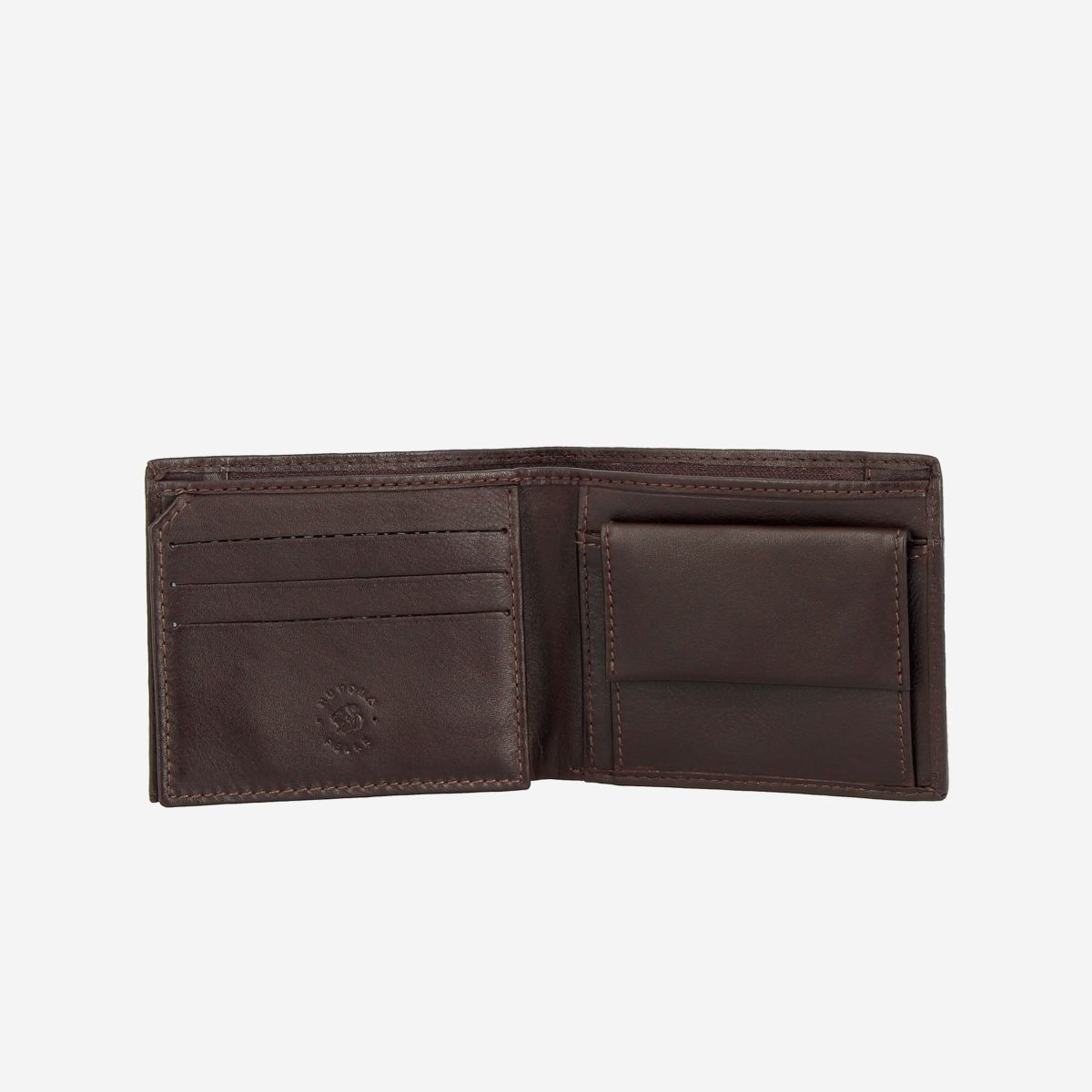 NUVOLA PELLE Small Wallet For Men With Coin Purse - Dark Brown