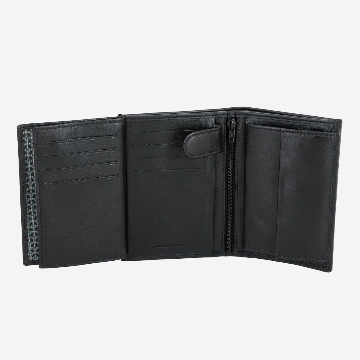 NUVOLA PELLE ארנק עור ורטיקאלי עם תא למטבעות - שחור