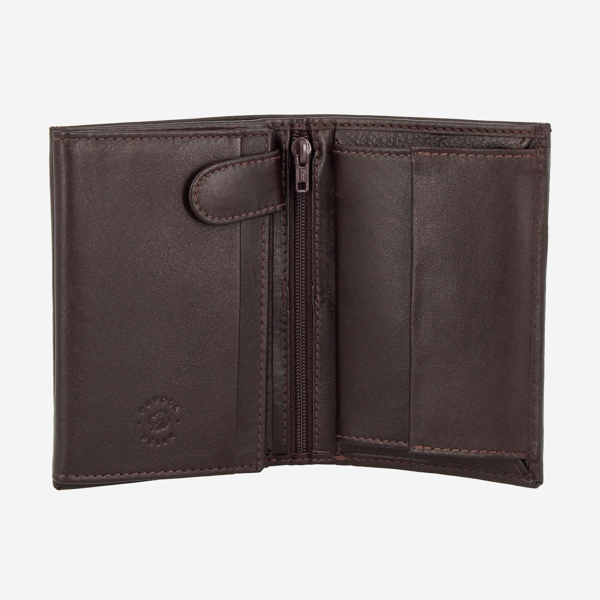 NUVOLA PELLE Mens Vertical Wallet With Coin Pocket - Dark Brown