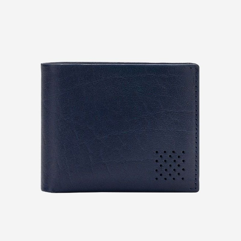 Leather Wallet With Coin Pocket For Men - Blue