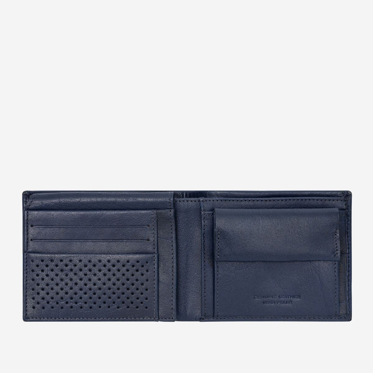 DuDu Leather Wallet With Coin Pocket For Men - Blue