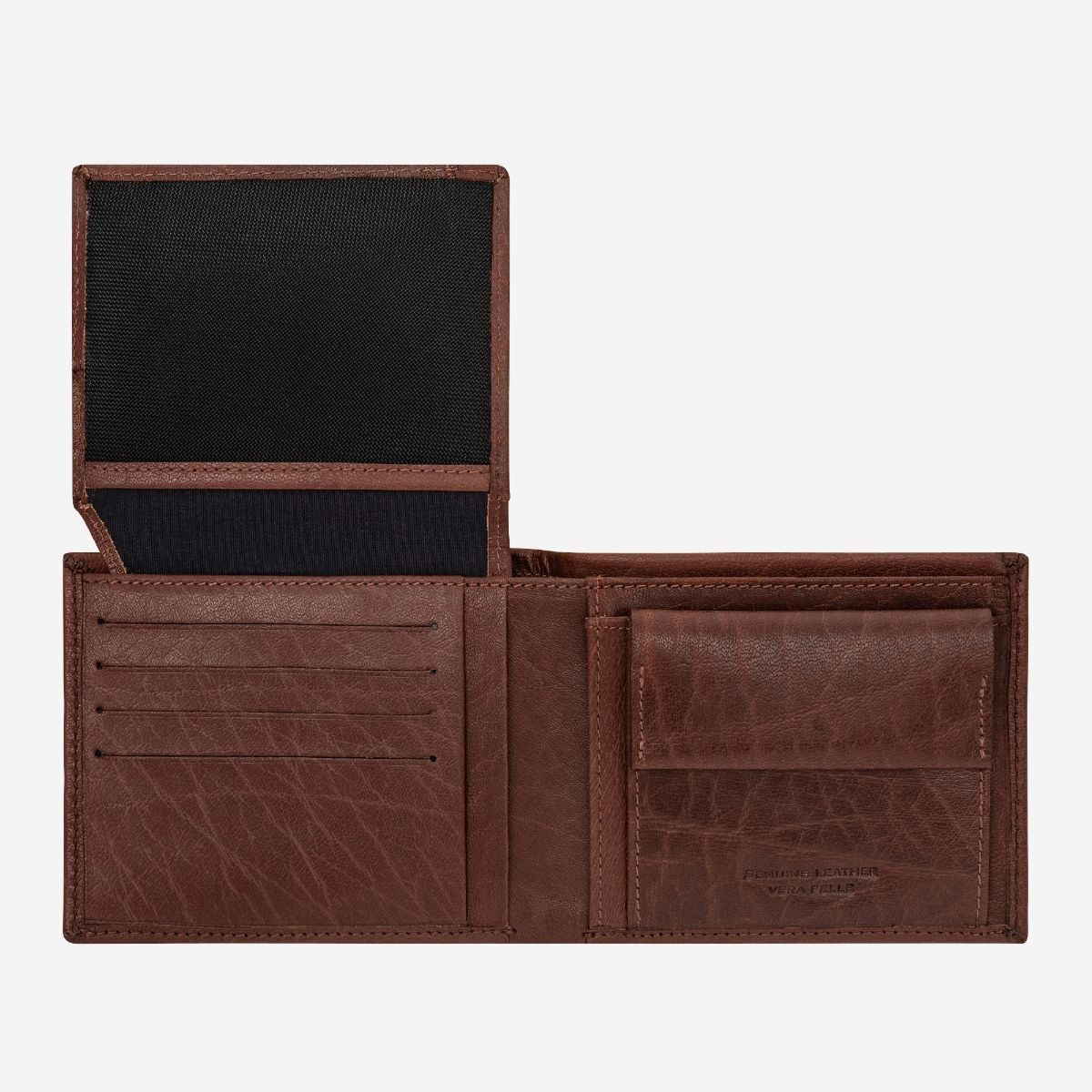 DuDu Leather Wallet With Coin Pocket For Men - Brown